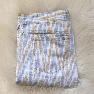 FREE PEOPLE Cropped Zipper Ankle Pattered Jeans 28